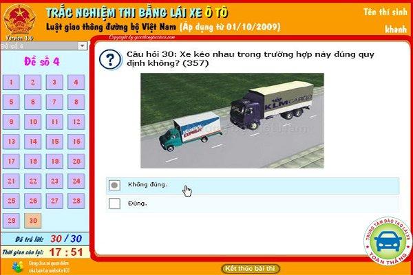 Phần thi lý thuyết bằng lái xe b2